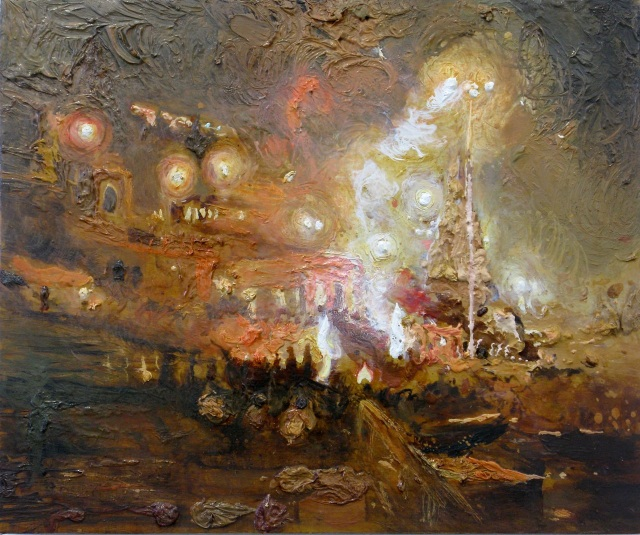 Fons van laar 'Nacht in Varanasi' Olieverf / paneel 41 x 50 cm 2013